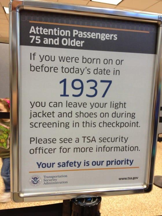 airport tsa security sign