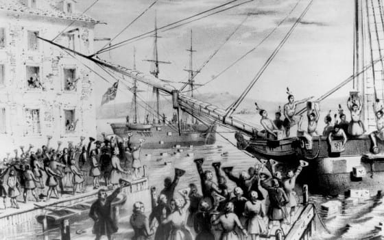 Boston Tea Party Copy of lithograph by Sarony & Major, 1846