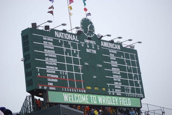 Wrigley Field Scoreboard Courtesy Scott R Anselmo, WikiCommons.