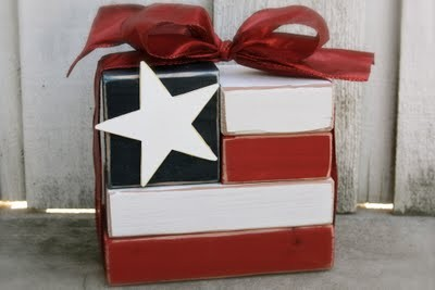 fourth of july flag blocks