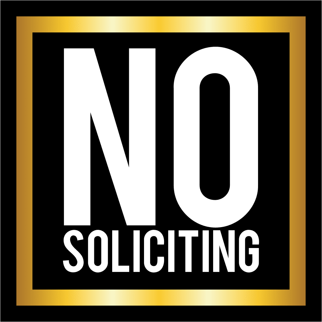 no soliciting square sign
