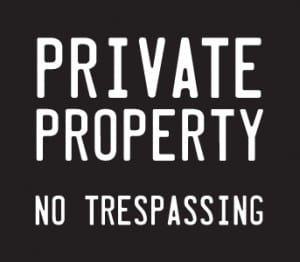 private property no trespassing white on black