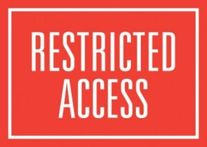restricted access white on red