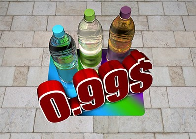 3d soda bottle floor graphic