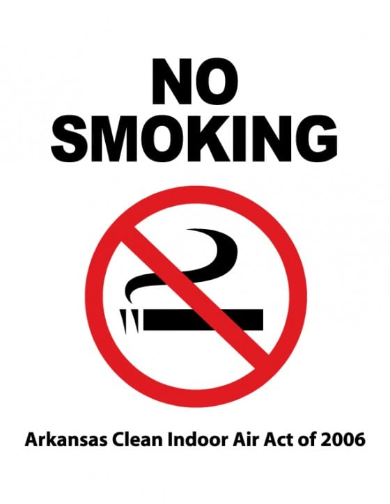arkansas clean indoor air act smoking sign
