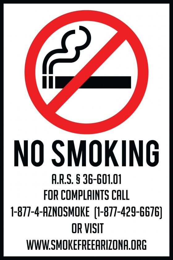 arizona smoking sign 12x18
