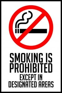 california smoking permitted sign 12x18