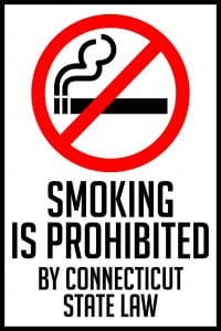 connecticut smoking prohibited by state law sign