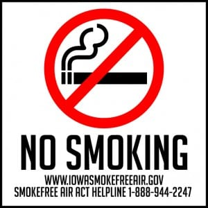 iowa no smoking decal 9x9