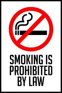 illinois smoking prohibited by law sign 12x18