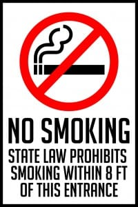 indiana smoking prohibited 8 feet sign 12x18