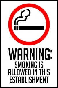 indiana smoking is allowed warning sign 12x18