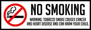 maryland no smoking warning sign 18x6