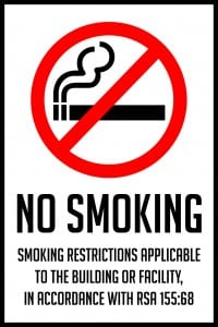 new hampshire no smoking sign vertical 12x18