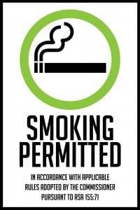new hampshire smoking permitted sign 12x18