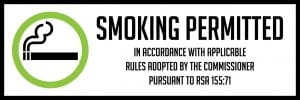 new hampshire smoking permitted sign 18x6