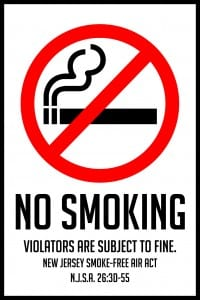 new jersey no smoking sign 12x18