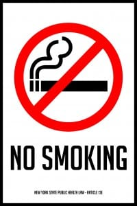new york no smoking sign 12x18