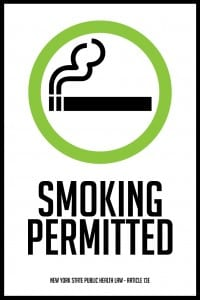 new york smoking permitted sign 12x18