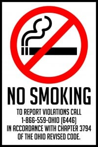 ohio no smoking sign 12x18