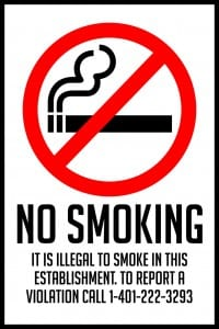 rhode island no smoking sign 12x18