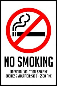 tennessee no smoking sign 12x18