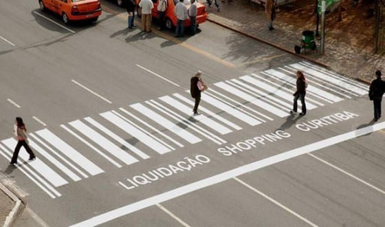 bar code crosswalk ad floor graphic