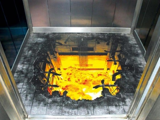 explosion hole in elevator floor graphic