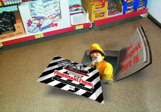fishermans friend 3d floor graphic