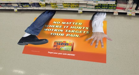 motrin pain floor decal