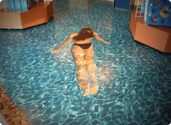 pool and swimmer custom floor graphic