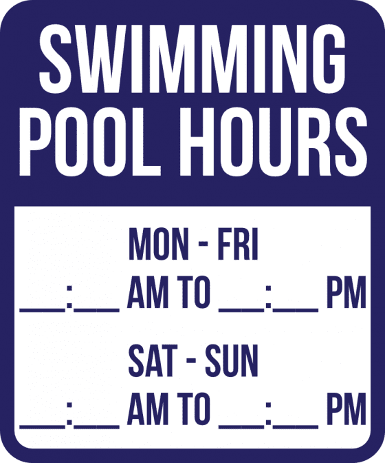 Delaware Pool Hours Sign