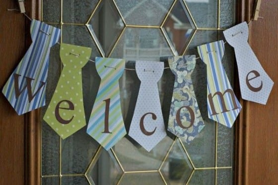 Homemade Welcome Home Tie Sign