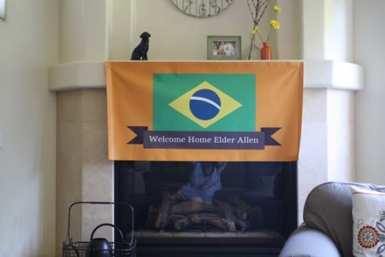 welcome home banner inside house