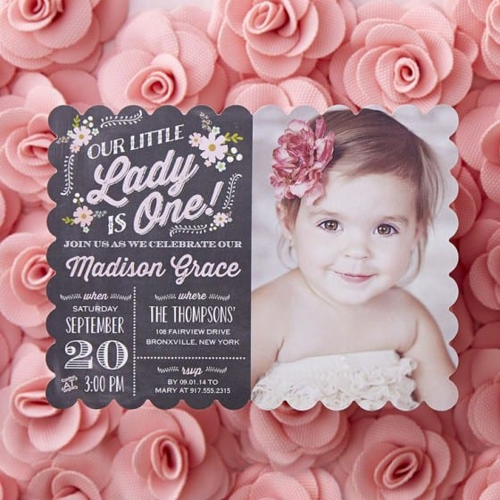 chalkboard plus picture birthday invitation