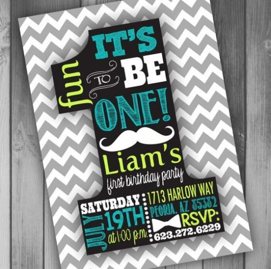 one shaped birthday invitation