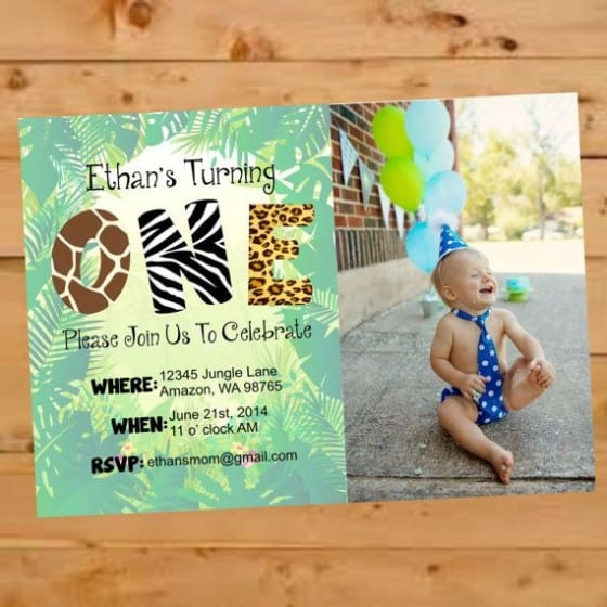 birthday theme and picture invitation