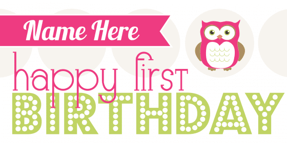 happy first birthday owl banner