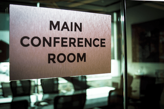 brushed aluminum conference room sign