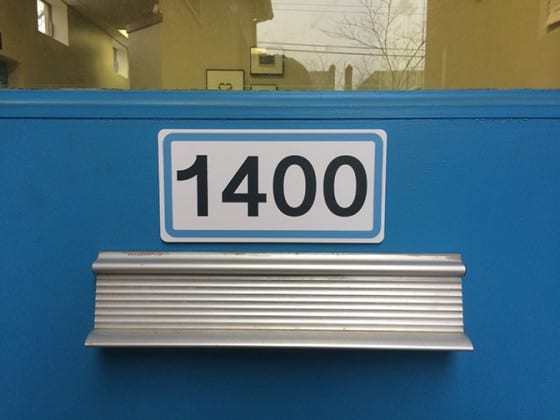 plastic door number sign