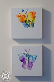 butterfly canvas footprints