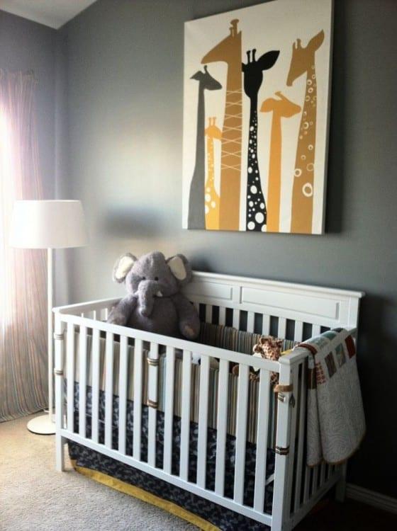 baby giraffes nursery canvas print