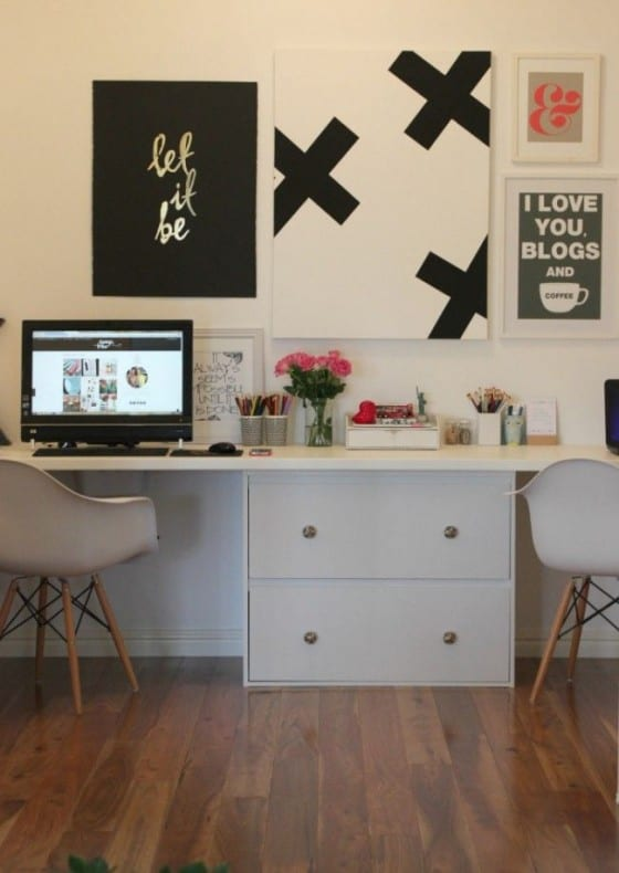office desk with canvas prints