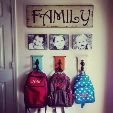 family hooks with wall art