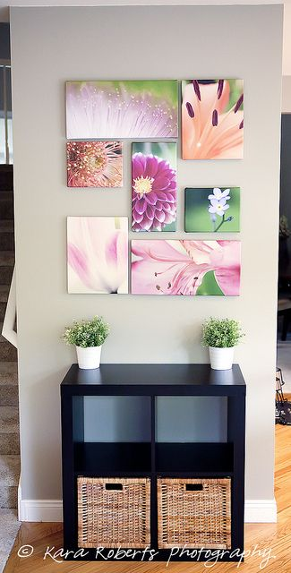 flowers with print in hallway