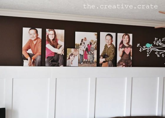living room batten board with prints