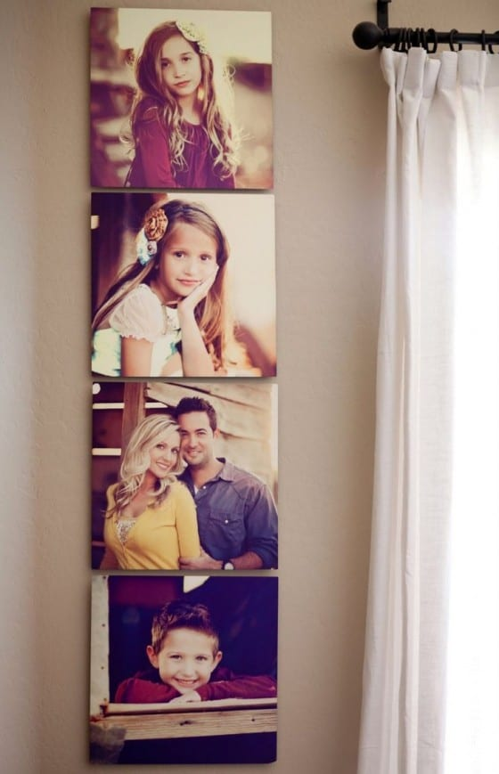 vertical family with yellow prints