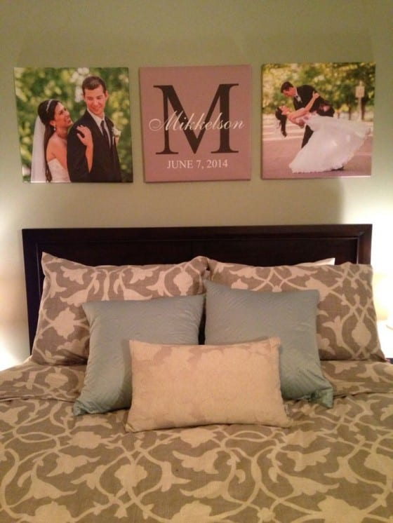 canvas print wedding headboard