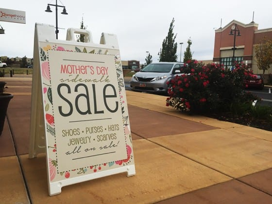 Aframe sign Mothers Day sale street advertising