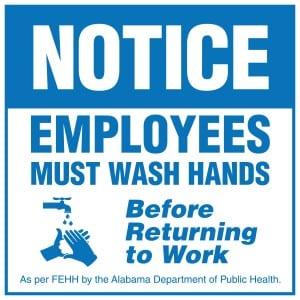 Alabama handwashing sign